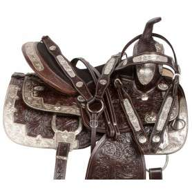Dark Brown Silver Show Western Leather Horse Saddle 17 18