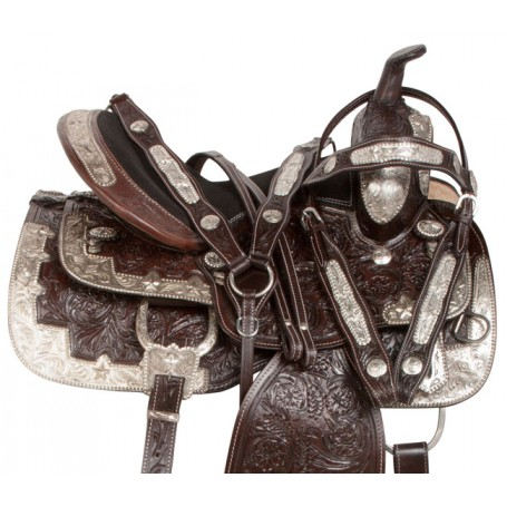 Dark Brown Silver Show Western Leather Horse Saddle 14