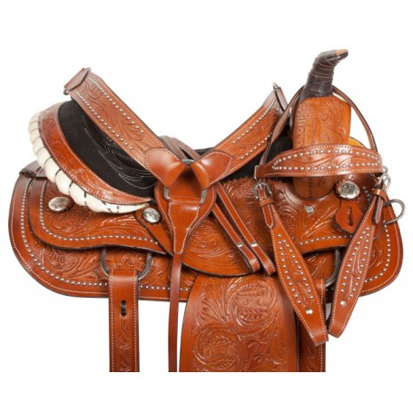 Silver Studded Western Roping Ranch Horse Saddle 15