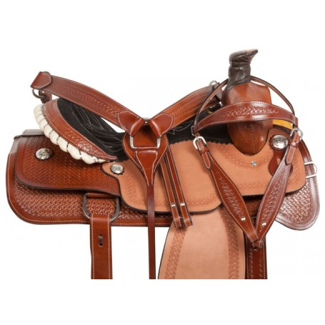 Western Ranch Roping Tooled Leather Horse Saddle 15