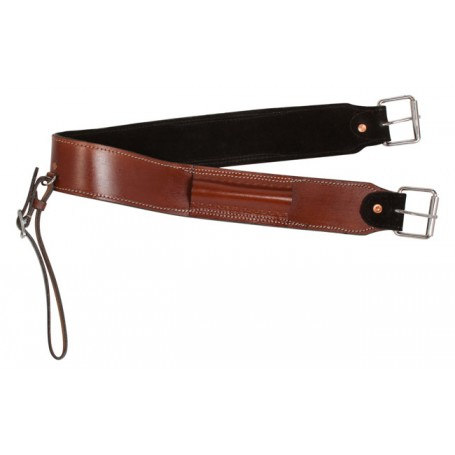 Russet Brown Cowhide Leather Western Bucking Strap Cinch