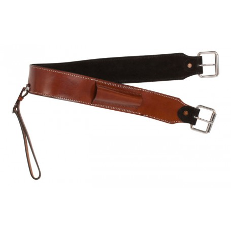 Western Cowhide Leather Horse Saddle Bucking Strap Cinch