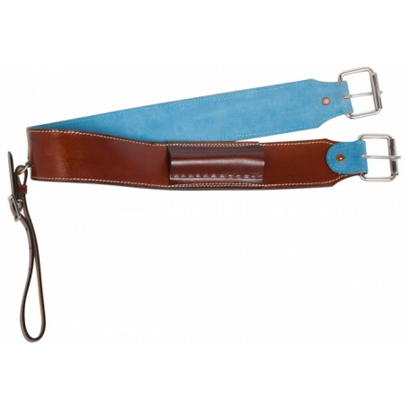 Medium Oil Blue Suede Western Leather Horse Saddle Cinch