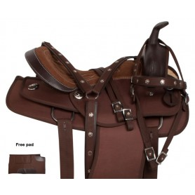 Brown Synthetic Pleasure Trail Western Horse Saddle 15 17