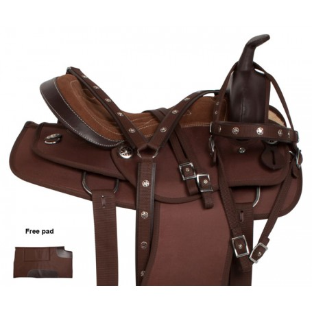 Brown Synthetic Pleasure Trail Western Horse Saddle 15 16