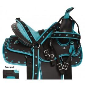 Turquoise Kid Seat Western Synthetic Horse Saddle Set 10 12