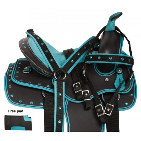Turquoise Kid Seat Western Synthetic Horse Saddle Set 10 12