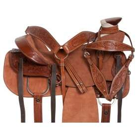 Western Rough Out Ranch Roping Leather Horse Saddle 16 17
