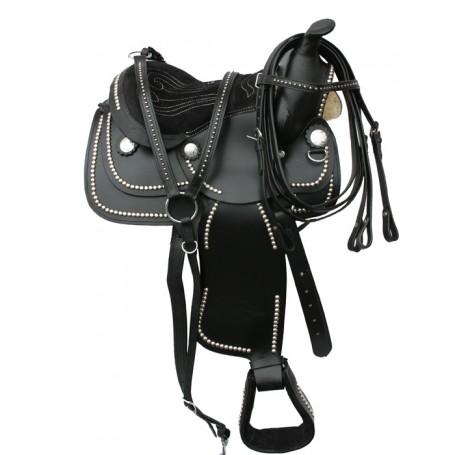 New 12 Beautiful Studed Pony Letaher Youth Saddle Tack