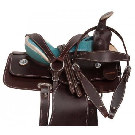 "12"" Turquoise Western Leather Barrel Racing Youth Saddle"
