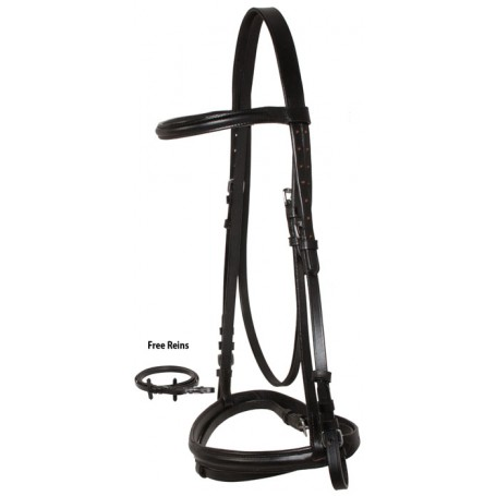 Black Jumping AP English Leather Horse Bridle Reins