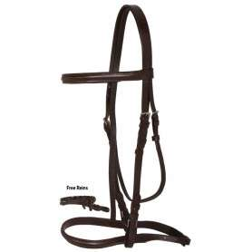 Brown All Purpose English Leather Horse Bridle Braided Reins