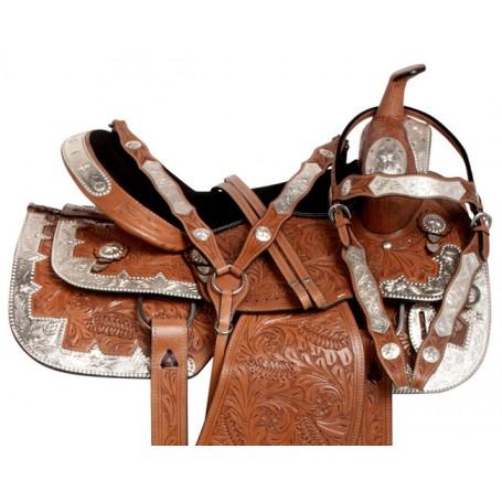 Light Chestnut Hand Carved Silver Show Western Saddle