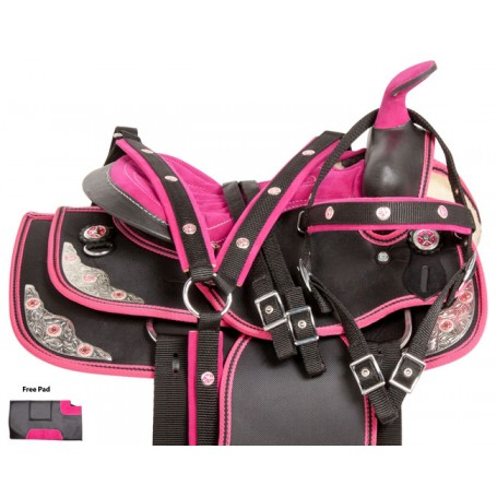 Pink Texas Star Youth Synthetic Western Horse Saddle 10