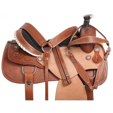 Western Leather Mule Hide Ranch Roping Horse Saddle 16