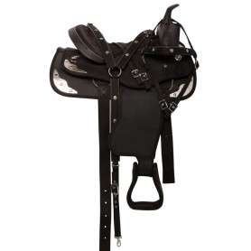 Black Synthetic Silver Show Western Horse Saddle Tack 15