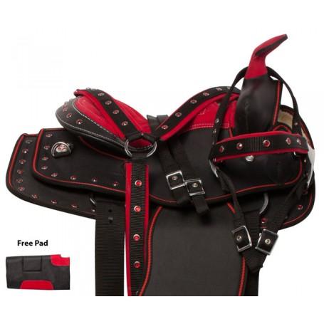 Red Crystal Youth Kids Quarter Horse Saddle Tack 10