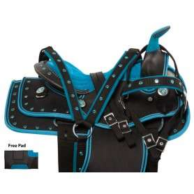 Blue Synthetic Western Show Kids Seat Horse Saddle 10 12