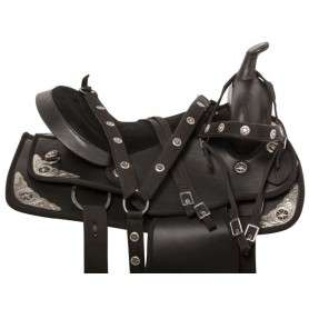 Texas Star Black Dura Leather Western Horse Saddle 15 16