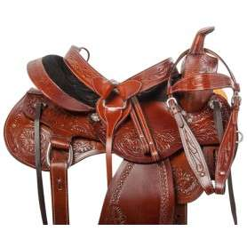Comfy Western Tooled Leather Trail Horse Saddle Tack 16