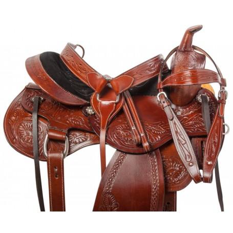Comfy Western Tooled Leather Trail Horse Saddle Tack 15