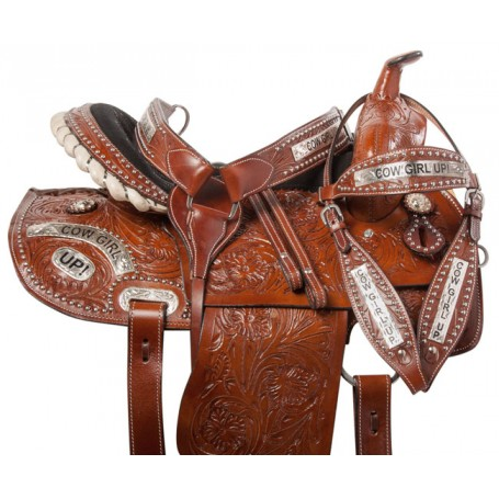 Cowgirl Barrel Racing Western Trail Horse Saddle Tack 14 15