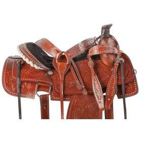 Hand Carved Western Roping Ranch Horse Saddle Tack 15 16