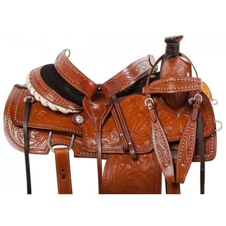Chestnut Tooled Western Roping Horse Saddle Tack 15