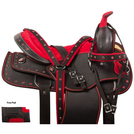 Red Crystal Synthetic Western Horse Saddle Tack 14 15