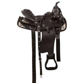Black Silver Barrel Show Western Trail Horse Saddle Tack 16
