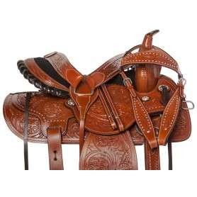 Premium Western Leather Barrel Pleasure Horse Saddle 14 18