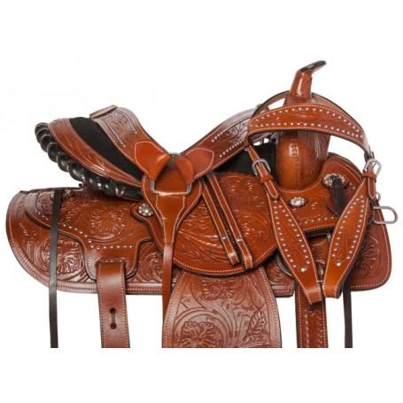 Premium Western Leather Barrel Pleasure Horse Saddle 18