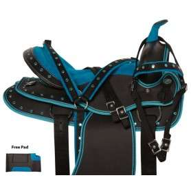 Blue Crystal Western Cordura Trail Show Horse Saddle 14 18