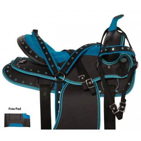 Blue Crystal Western Cordura Trail Show Horse Saddle 15