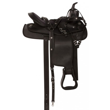 Black Synthetic Light Weight Western Horse Saddle 14 16