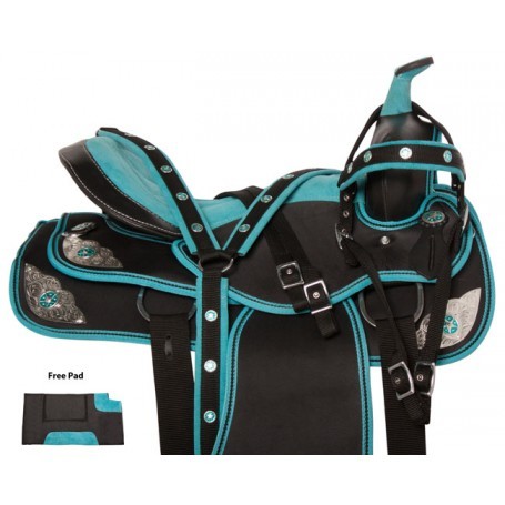 Light Turquoise Silver Western Pleasure Horse Saddle 18