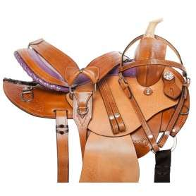 Purple Western Barrel Racing Trail Horse Saddle Tack 14 16