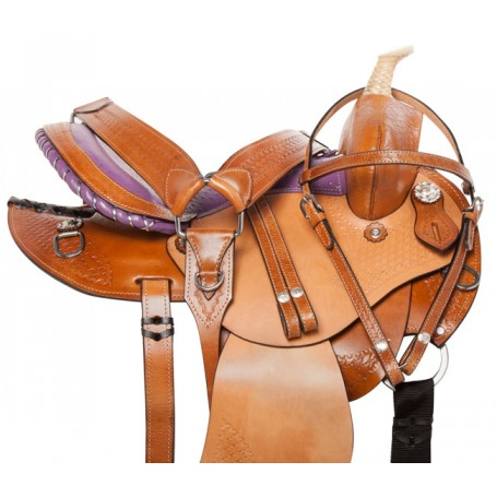 Purple Western Barrel Racing Trail Horse Saddle Tack 14