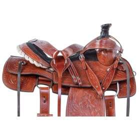 Classic Tooled Western Roping Ranch Horse Saddle Tack 15