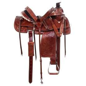 Western Cowboy Ranch Roper Leather Horse Saddle Tack 15