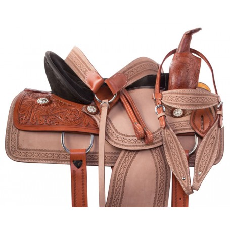 Premium Western Barrel Trail Leather Horse Saddle Set 15.5""