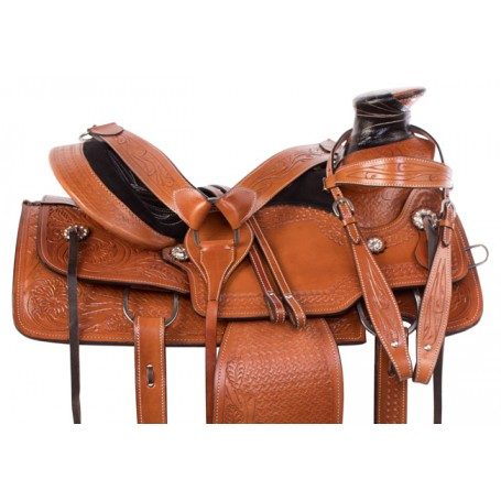Tan Chestnut Western Wade Tree Roping Horse Saddle 15