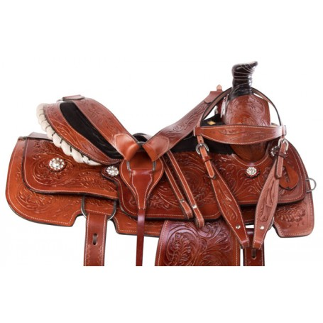 Premium Western Tooled Roping Ranch Horse Saddle 15 16