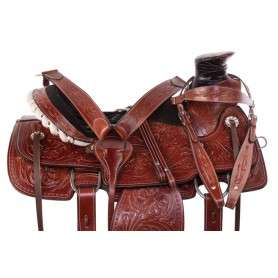 Heavy Duty Western Wade Tree Roping Leather Horse Saddle
