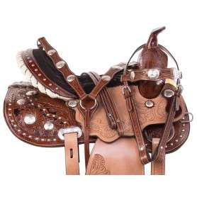 Premium Western Crystal Barrel Racer Trail Horse Saddle Set