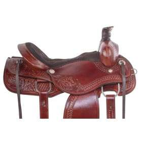 Beautiful Hand Carved Western Trail Roping Horse Saddle 16