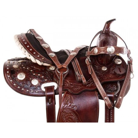 Antique Mahogany Western Barrel Racer Horse Saddle Tack