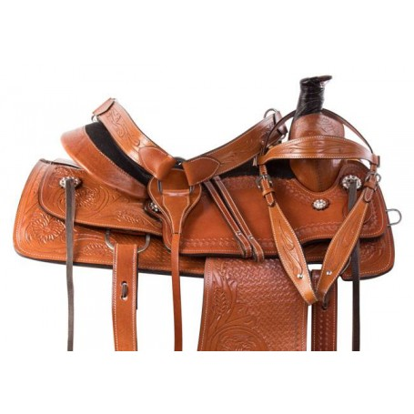 Tooled Chestnut Western Leather Roping Ranch Horse Saddle
