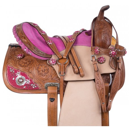 Pink Crystal Western Barrel Racing Trail Horse Saddle Tack 16