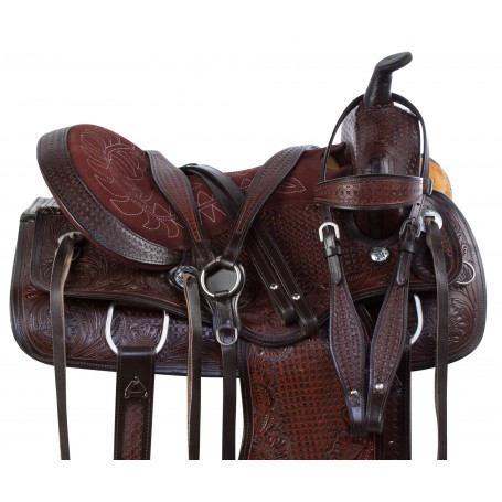 Dark Brown Antique Western Pleasure Trail Horse Saddle Tack Set